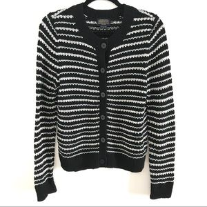 Pendleton Womens M Medium B&W Striped Cardigan